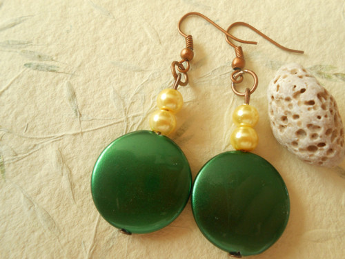 Náušnice - zelené placičky