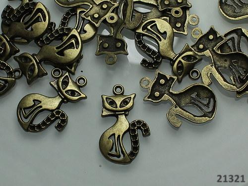 21321 Vintage přívěšek bronz KOČKA, á 2ks!