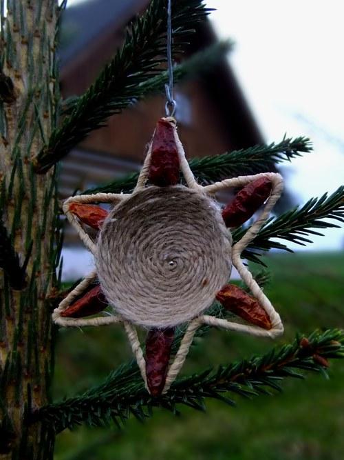 Vánoční ozdoba Hvězda, chilli - přírodní