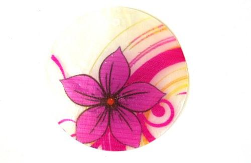 046 perleťové placky tenké- květina růžová
