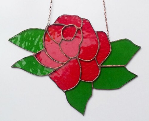 Závěsná vitráž Růže 27x19cm