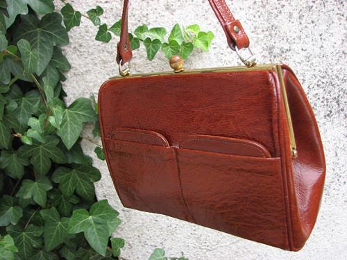 Podzimní schůzka...hnědá kožená kabelka