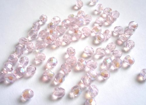 Broušené perle růžové AB 6mm