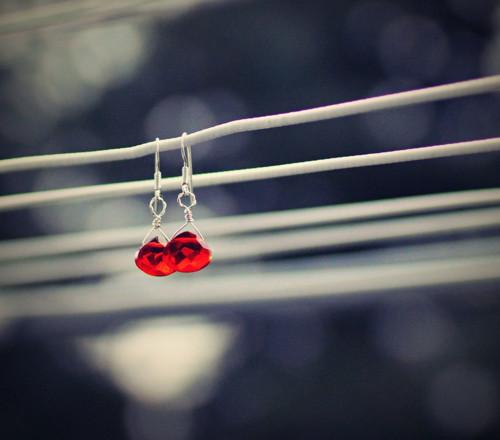 Červený křišťál - Ag naušnice