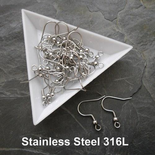 Náušnicový háček Stainless Steel 316L - 10 ks