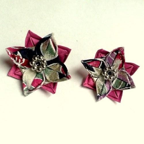 Růžičky v moři - origami náušnice