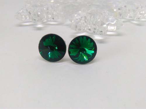 Ocelové náušnice - Emerald 12mm