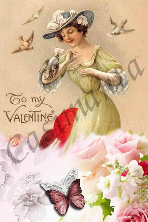 Valentýnský pozdrav - vinage motiv