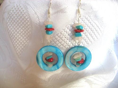 Náušnice z tyrkysové perleti s karneolem/růženínem