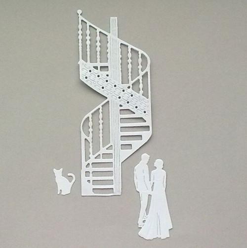 Výsek - Schodiště, kočka a svatební pár