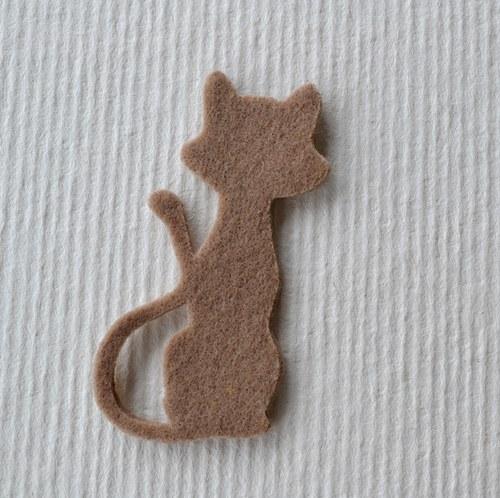 Výsek z plsti - kočka drapová