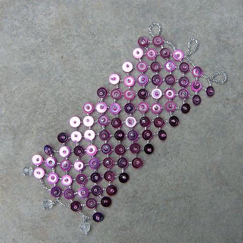 Široký náramek v růžovo-stříbrné - SLEVA