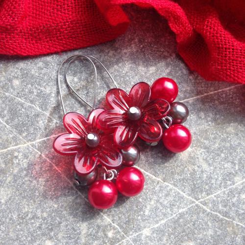 Červené kytičky - náušnice