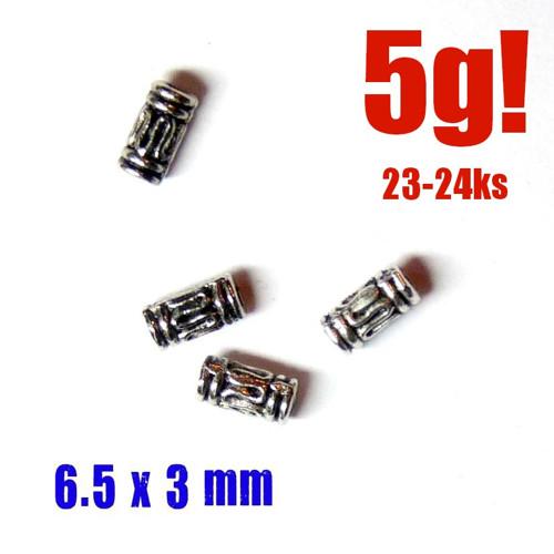 BALI korálky VÁLEČKY 6.5x3mm , 10g - cca50 ks,