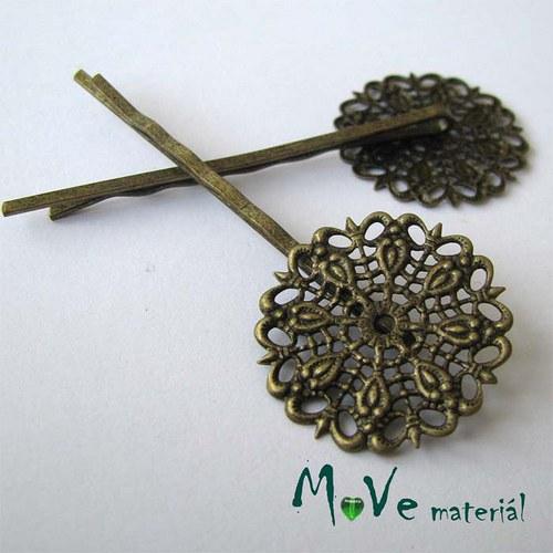 Vlasová spona filigrán květ 55mm, bronz, 1ks