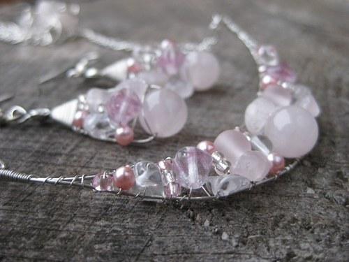 Jemnosnění - souprava šperků (růženín, křišťál)