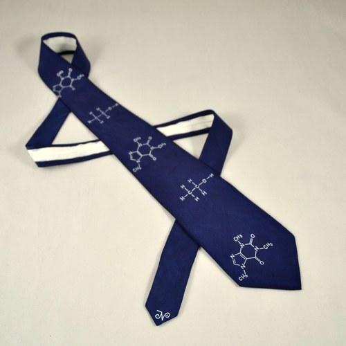 Kravata s molekulami - tmavě modrá