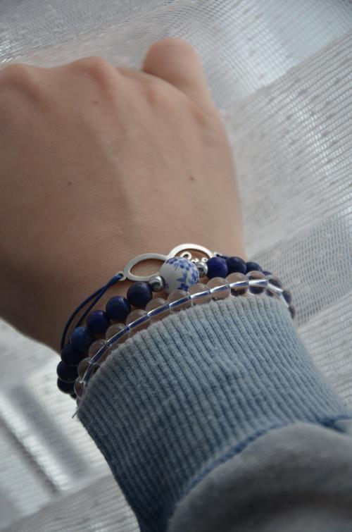 Modrý náramkový set – Infinity, Křišťál a Lazurit