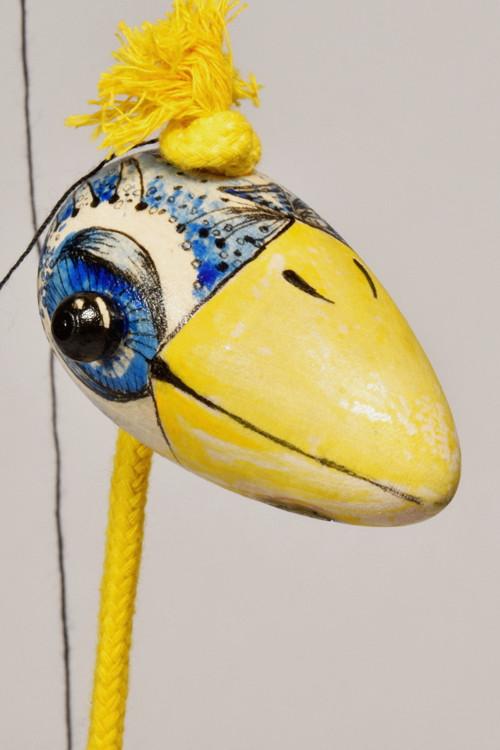 Loutka ptáček malovaný, modrožlutý, velký