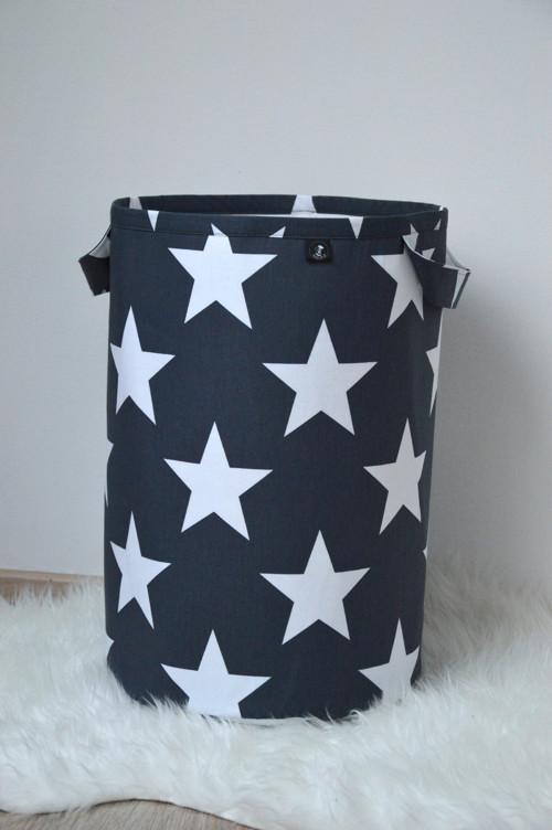 Látkový koš na prádlo/hračky Hvězdy šedé