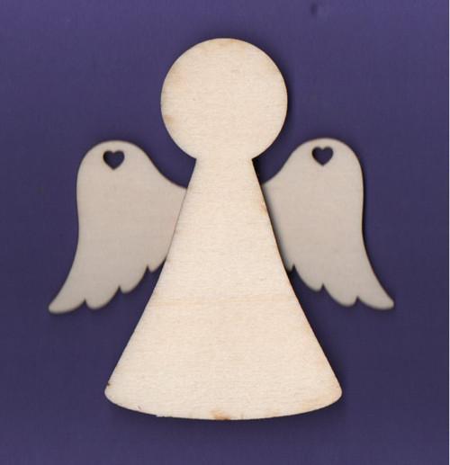 Dřevěný výřez, anděl, 3D, sada s křídly