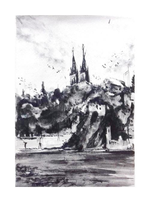 Praha, Vyšehrad, originalni obraz A4