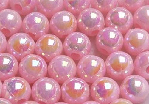 Plastové kuličky duhové 4 mm - sv. růžová / 20 ks