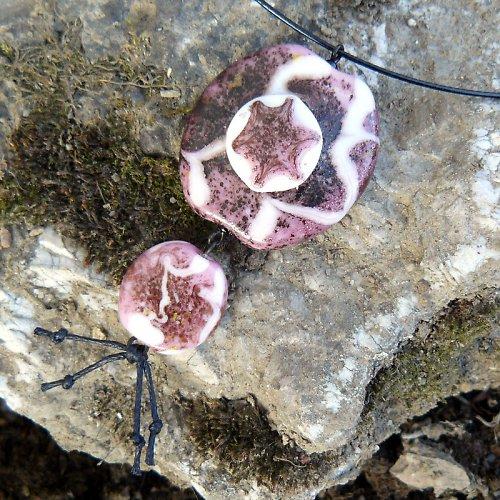 Náhrdelník vrstvená placka - růžová