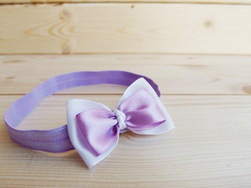 Čelenka - fialovo - bílá mašlička