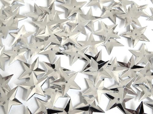 Flitry s dírkou, hvězda, našívací, stříbrná