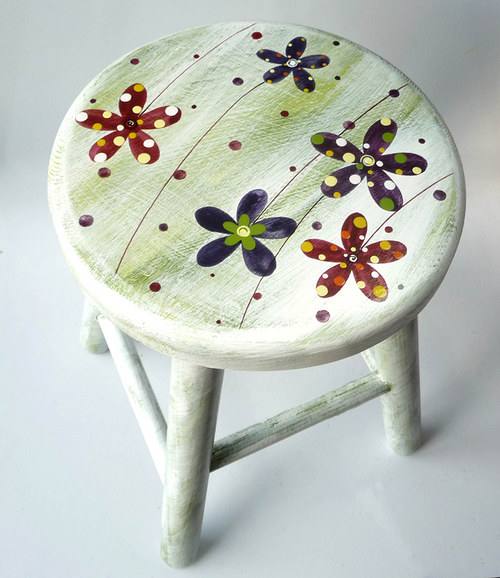 dřevěná stolička - zelenobílá s květy