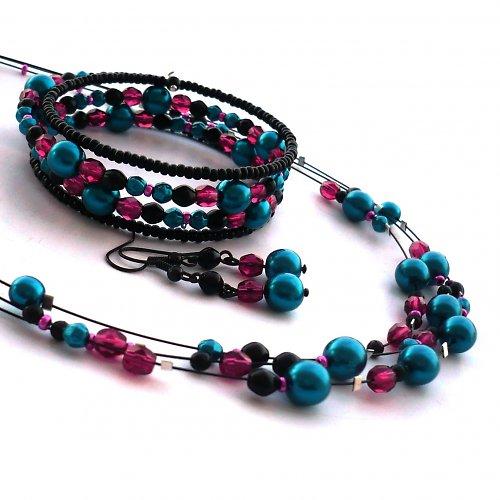 Tyrkys s fuchsií - náhrdelník