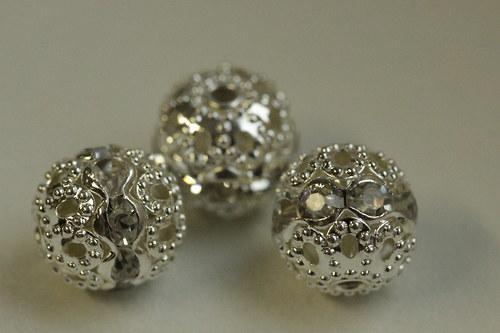 Šatonové kuličky 10mm - crystal - 3ks
