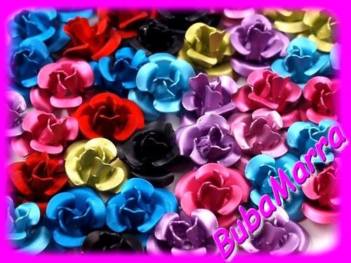 ~20ks~ Růžička Ø10mm kovová EXCELLENT mix barev
