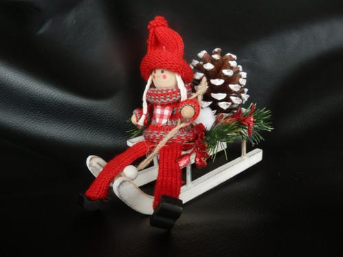 Vánoční dekorace sáňky a šiška