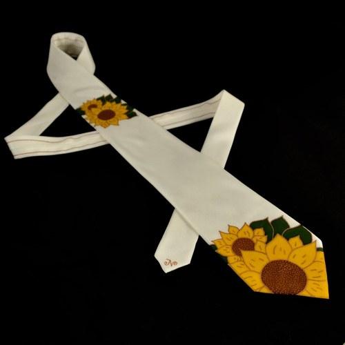 Hedvábná kravata se slunečnicemi - bílá