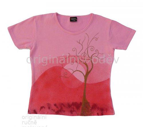 Malované tričko dámské - strom - růžové