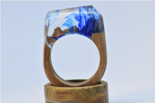 Dřevěný prsten Blue Spirit