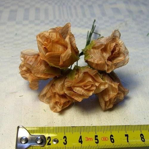 Květy růží na drátku - 6 ks skořicově hnědé