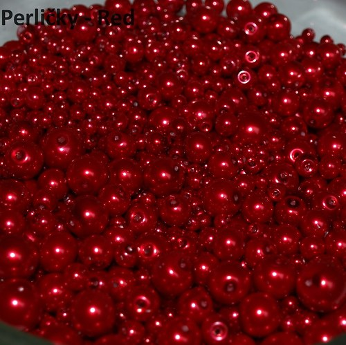 Mix perliček, 4-12mm, Red, 45 g