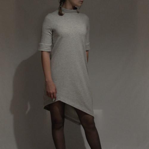 Šaty asymetrické šedý melír