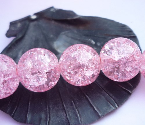 praskané  10ks , 10 mm světlé růžové č.2
