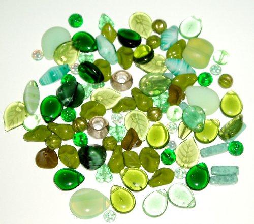 Skleněné korálky - mix zelená