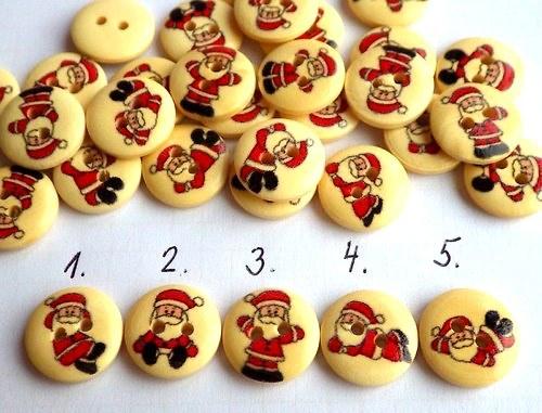 Dřevěný knoflík Santa, 5 ks