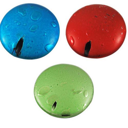 korálek kovový styl/ zelená / 20mm/ 4ks
