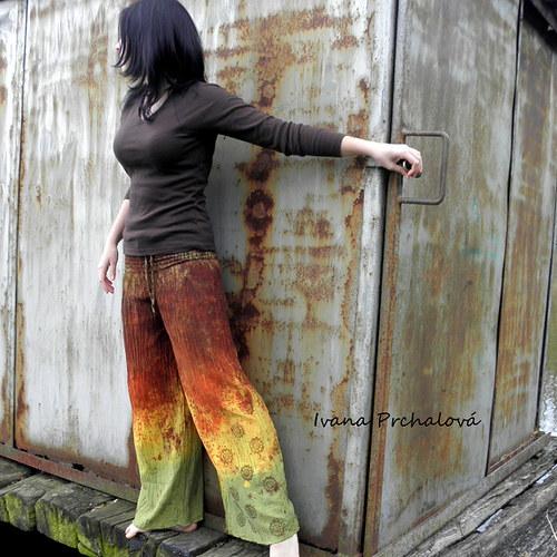 Zeleno-hnědo-žluté kalhoty ( vyrobím  na míru)