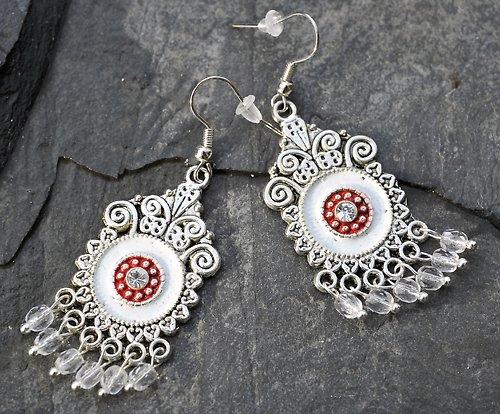 Stříbné naušnice- bílý a červený smalt E0086W