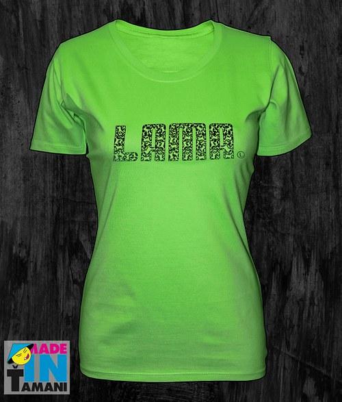 Dámské limetkově zelené tričko s Lamou potisk 04