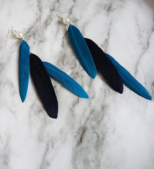 Modré pierkové náušnice