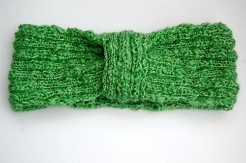Pletená čelenka zelená
